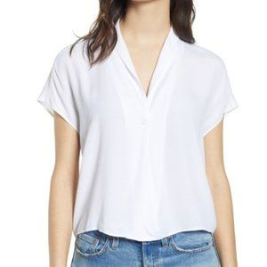 Leith faux wrap crepe rayon blouse solid white